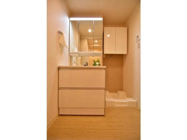 広い洗面室にも収納あり!